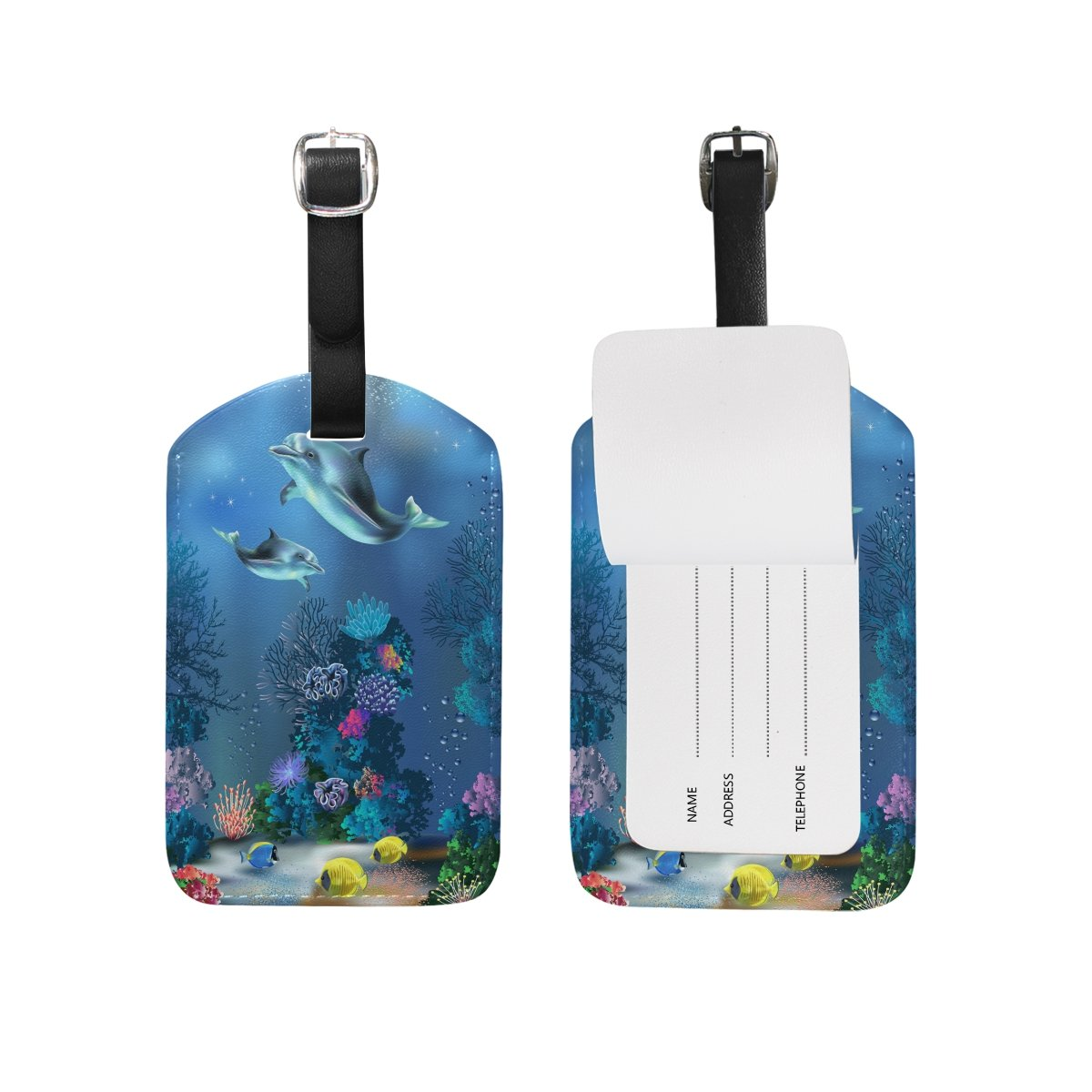 1Pcs Saobao Travel Luggage Tag Dolphin PU Leather Baggage Suitcase Travel ID Bag Tag