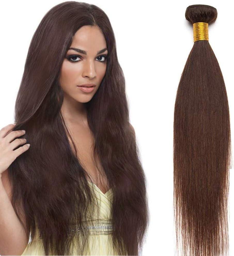 60cm Extensiones de Cortina Pelo Natural Humano [Brazilain Human Hair Bundles] (1 Bundle,#2 Castaño Oscuro)