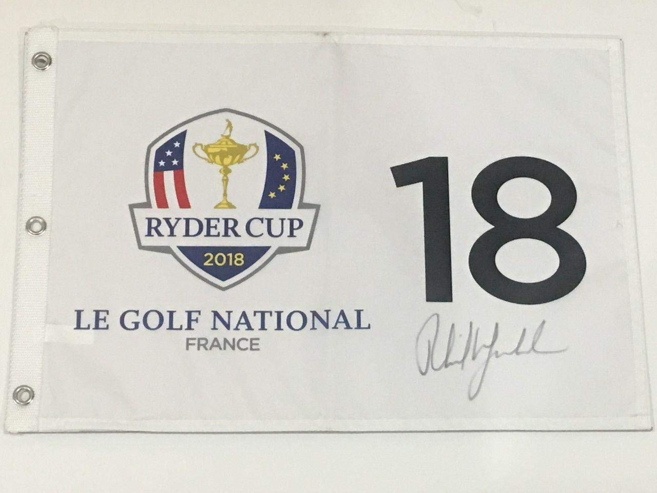 Phil Mickelson Signed 2018 Ryder Cup Flag Le Golf National France Usa Coa JSA Certified Autographed Pin Flags
