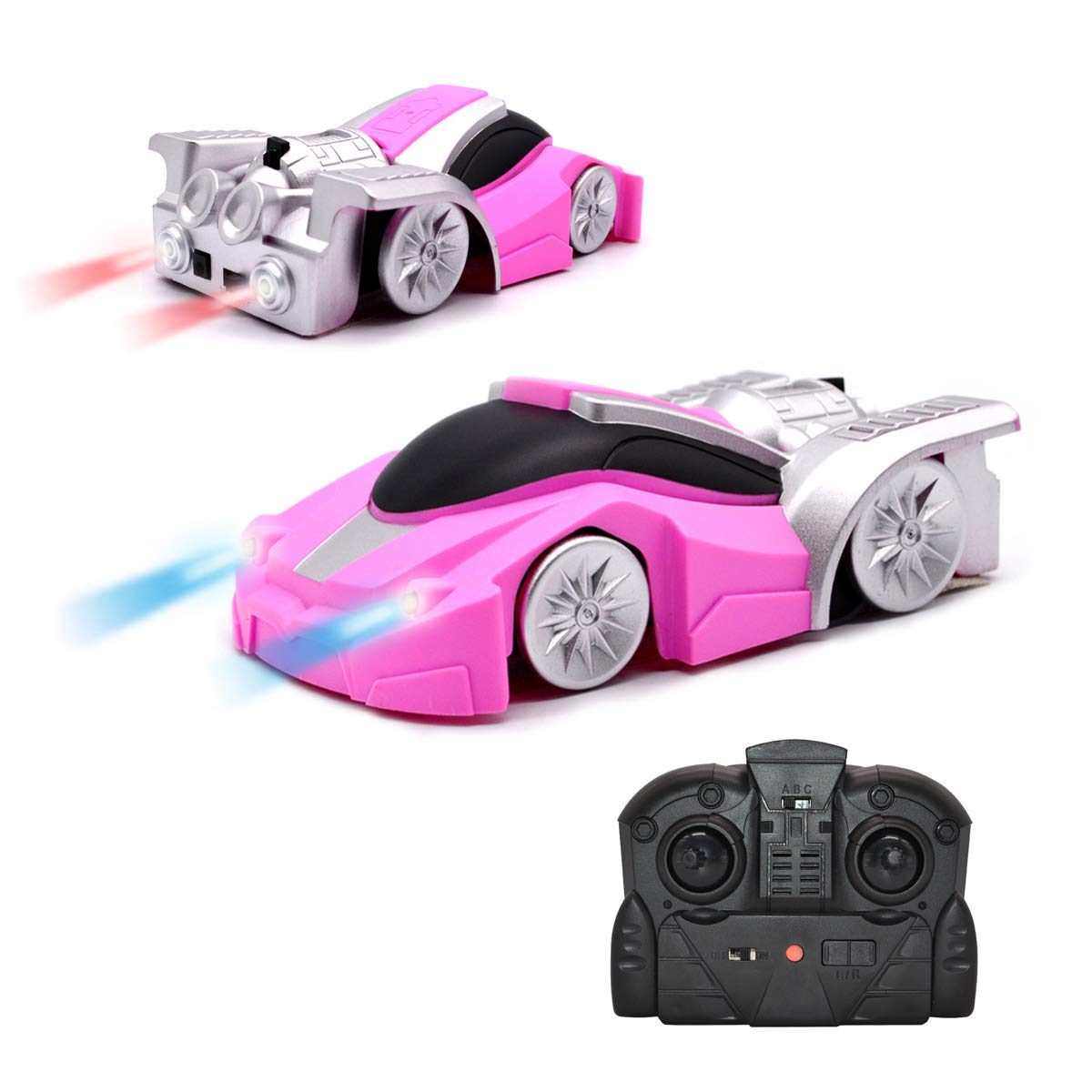 QUN FENG RC Cars Remote Control Wall Climbing Stunt Car Electric Gravity Sports Racing car Dual Mode Climber Toy Car for Girls Best Birthday Gift (Pink)