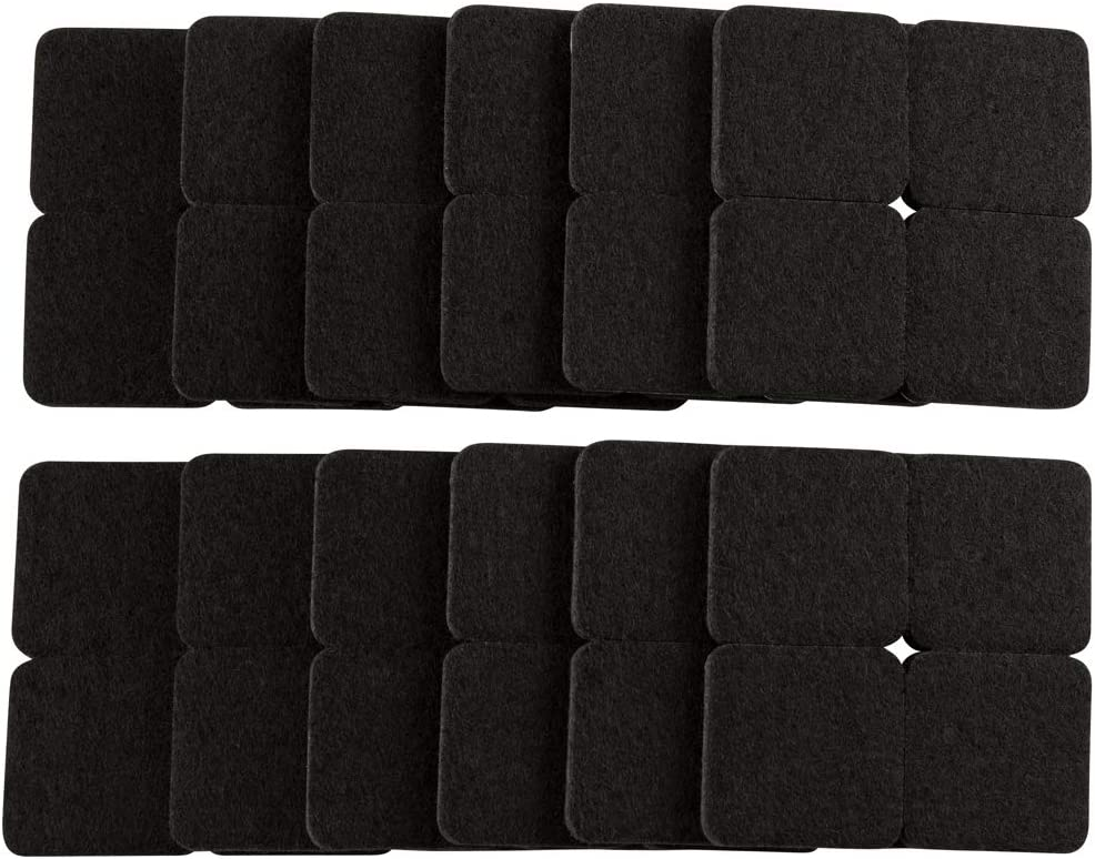 Softtouch 4717895N Self-Stick 1 Inch Square Felt Furniture Pads to Protect Hardwood Flooring from Scratches, 48 Pack, Black