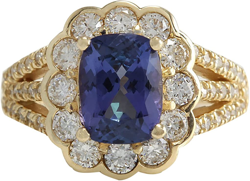 2.37 Ct Oval Blue Tanzanite 18K Yellow Gold Plated Silver Ring