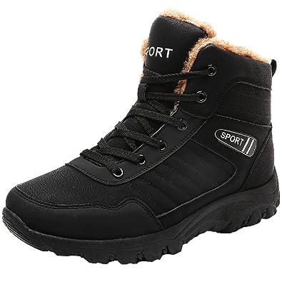 Men's Outdoor Walking Snow Boots Waterproof Fur Lined Warm Sneaker Shoes