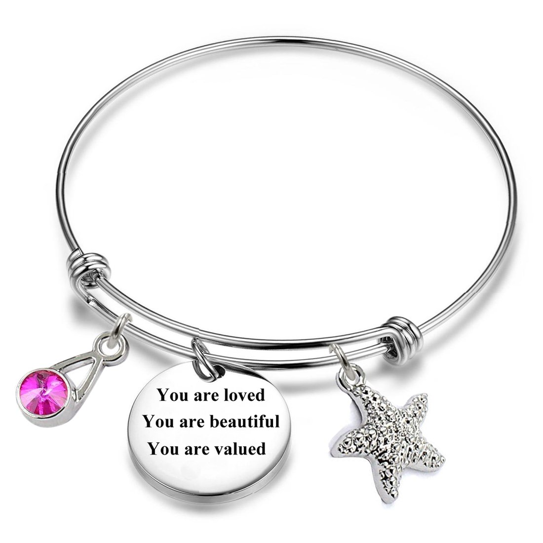 12 Months Birthstones Positive Inspirational Birthday Gifts Charm Bracelets. (October-You are loved You are beautiful You are valued)