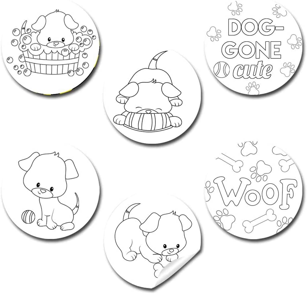 Envelope Seals Great for Arts /& Crafts Color Your Own Dog-Gone Cute Puppy Themed Birthday Party Favor Sticker Labels for Kids Goodie Bags /& Treats 90 1.5 Party Circle Stickers by AmandaCreation