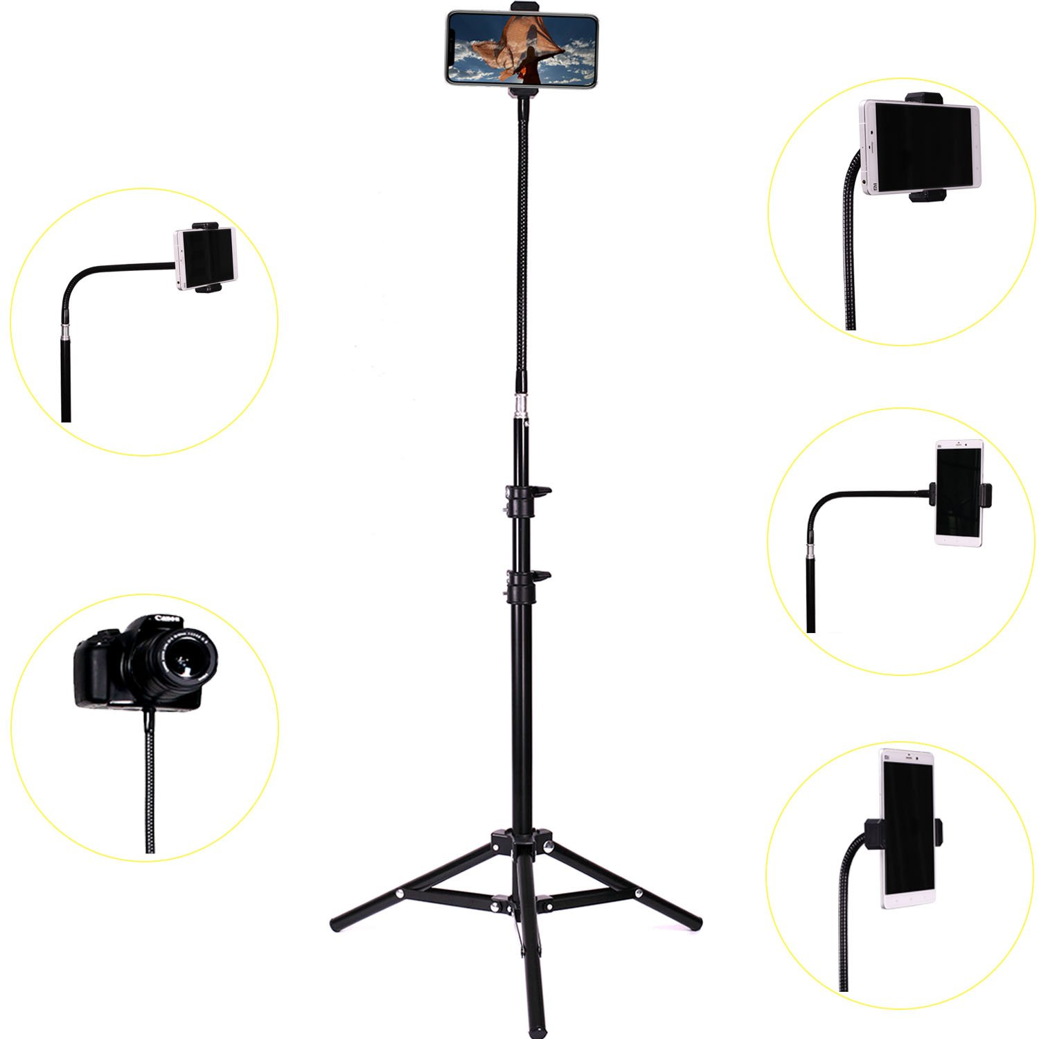 Haitent Retractable Adjustable Cell Phone Tall Tripod Stand Holder for iPhone X,8,7 Plus, 7, 6, 6 Plus,360 Degree Rotatable Flexible Universal Gooseneck Smartphone Stand with Clamp by Haitent (Image #3)