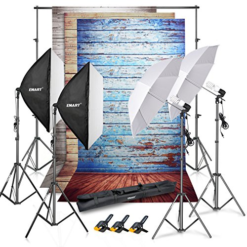 Emart 8.5x10ft Photography Backdrop Support System Kit and Vinyl Wood Floor Studio Background Screen(Blue, Rustic, White), Photo Video Studio 800W 5500K Umbrella Softbox Continuous Lighting Kit by EMART