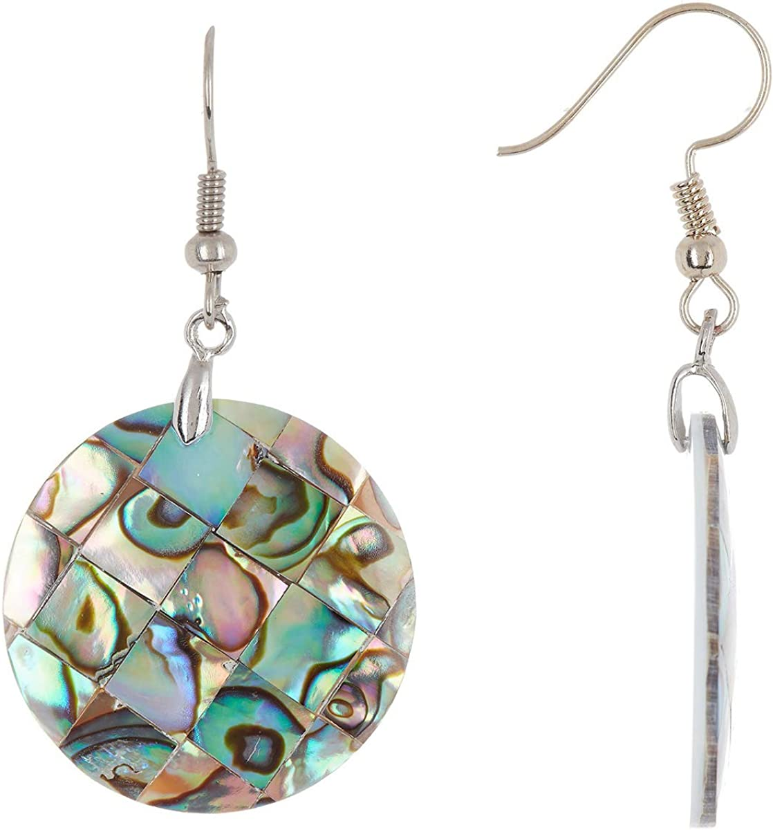 Sterling Silver With Abalone /& Mother Of Pearl Wholesale Gemstone Fashion Jewelry Drop Earrings