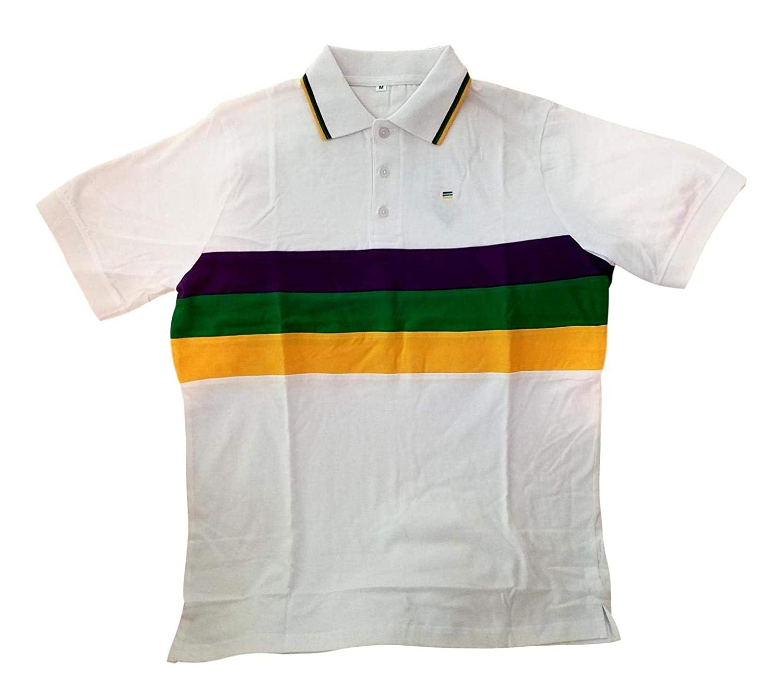 faa2fd6f Amazon.com: Child XLarge Mardi Gras Rugby White Purple Green Yellow Knit SS  Shirt: Home & Kitchen