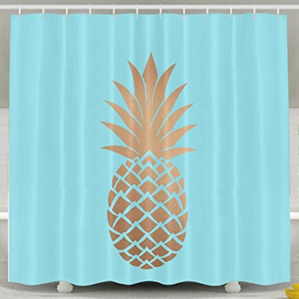 Image Unavailable Not Available For Color BESTSC Bath Curtain Gold Pineapple SKY BLUE Shower