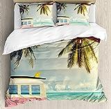 Cheap Comforter Sets Under 50 Surf 4 Piece Bedding Duvet Cover Sets with Zipper Closure - Queen Luxury Soft Lightweight Brushed Microfiber, Minivan on The Beach Retro Inspired Vacation Clouds in Summer Sky Honeymoon Destination