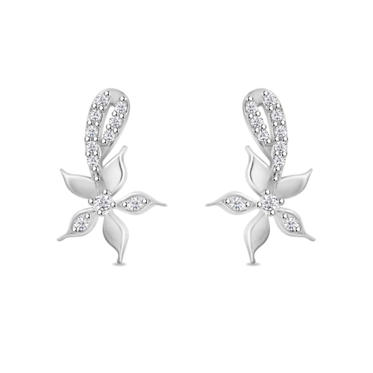14k Gold Plated Cluster Flower Drop Dangle Stud Earrings for Women Girls in 14k Gold Plated