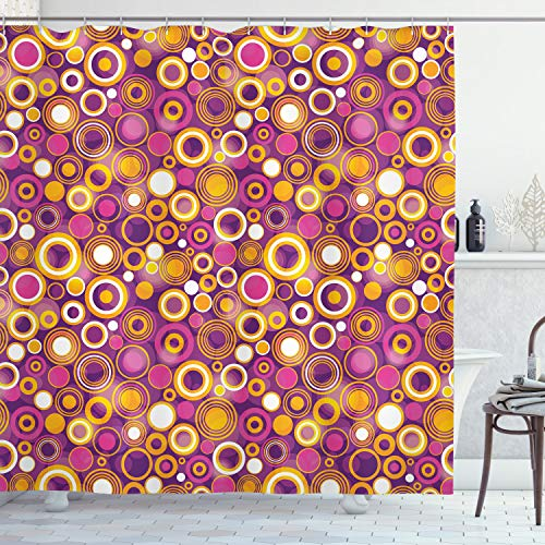 """Ambesonne Geometric Shower Curtain, Retro Style 70s Like Vintage Circles and Rounds Water Drops Like Image Artwork, Cloth Fabric Bathroom Decor Set with Hooks, 70"""" Long, Purple Orange"""