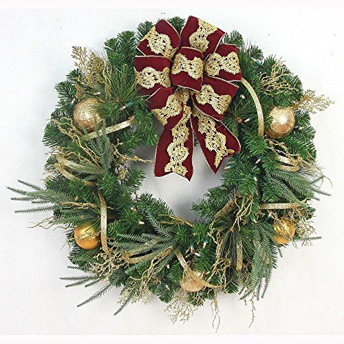 Valenzia Christmas Wreath With Red/ Gold Ribbon, 50 Battery-Operated lights