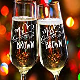 Lily's Atelier Set of 2, Hand Engraved Mr. Mrs. Last Name & Date Custom Wedding Toast Champagne Flute Set, Wedding Toasting Glasses – Etched Flutes for Bride & Groom Customized Wedding Gift #EH1 Review