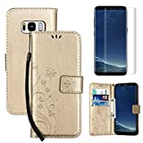 for Samsung Galaxy S8 Case Wallet ,OYIME [with Screen Protector] Kickstand [Butterfly Flower Embossed] Magnetic Flip Leather Protective Back Cover Card Slot Holder with Lanyard Strap - Pure Gold