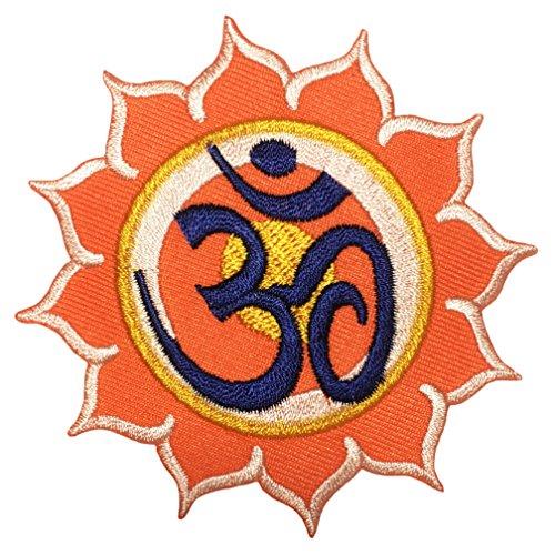 Diy Sexy Indian Costumes (Papapatch Aum Om Sun Flower Infinity Hindu Hindi Hinduism Yoga Indian Trance Costume DIY Applique Embroidered Sew on Iron on Patch - Orange (IRON-AUM-SUN-ORANGE))