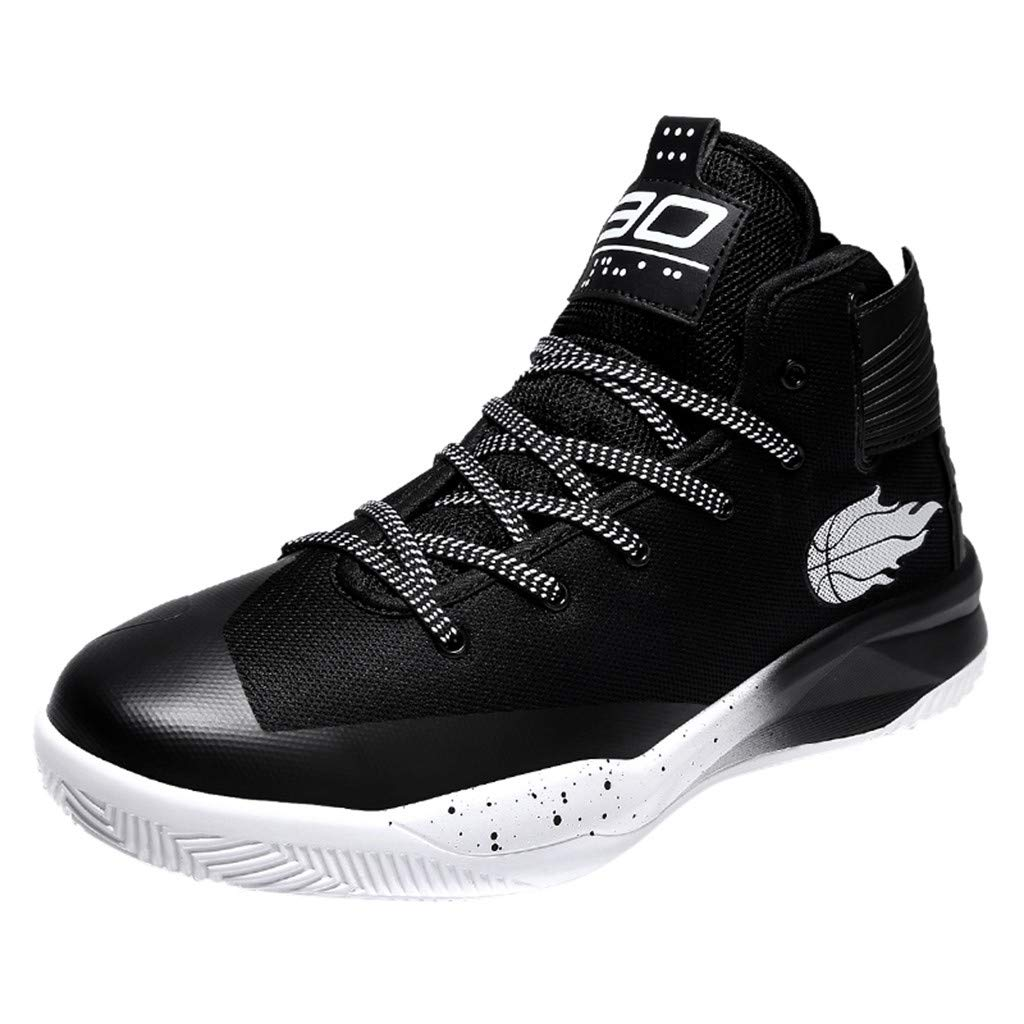 High-top Sneakers for Men 2019 Newest Casual Round Toe Fashion Lace-up Running Sports Shoes (US:8, Black)