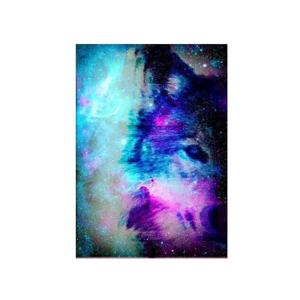 pushfocourag DIY 5D Diamant Malen Nach Zahlen Kits, Kristall Strass Diamant Stickerei Gemälde Bilder Arts Craft für Home Wand-Dekor, Full, Mystery Wolf Löwe, m298 Mystery Wolf Löwe