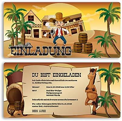 Invitaciones Cumpleaños Western Cowboy Niños Niño Niña ...