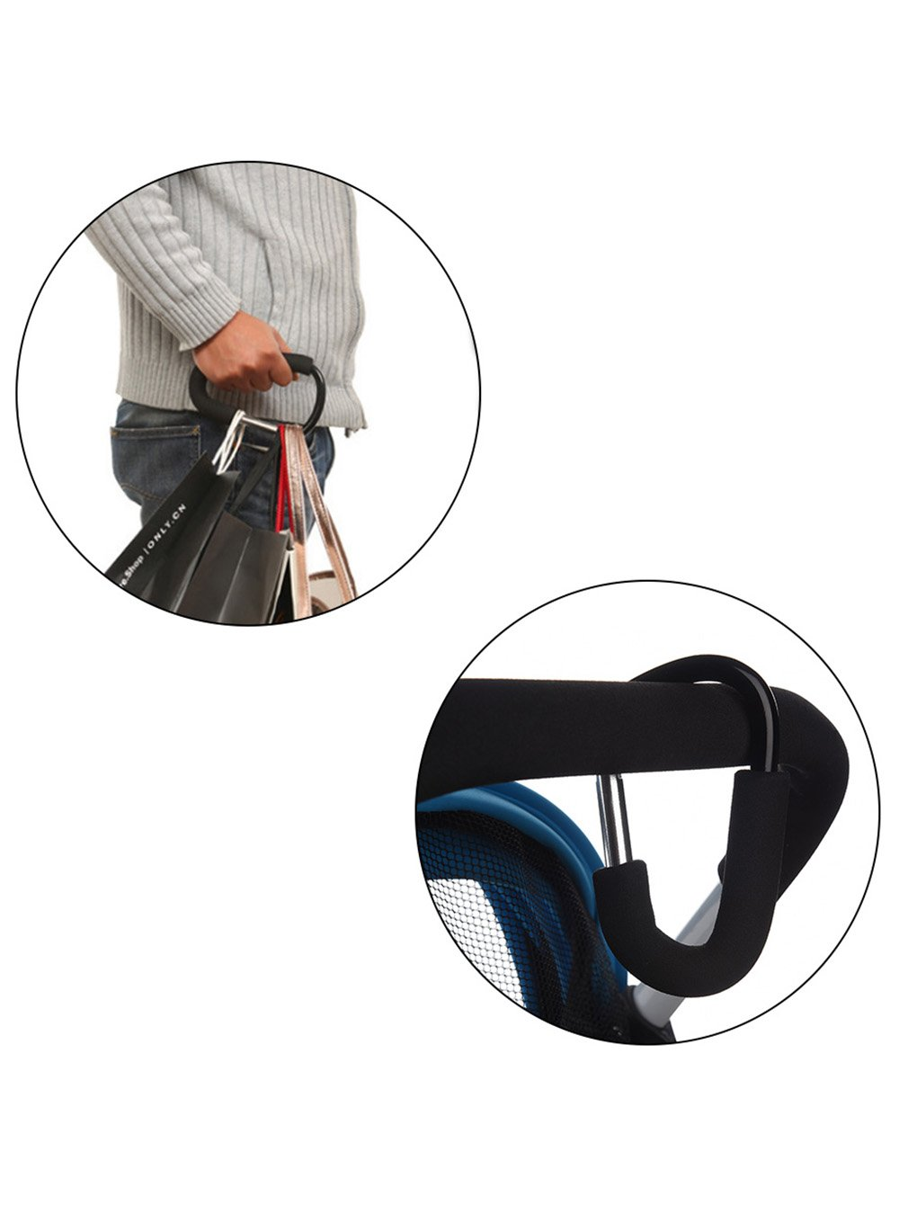 Black Snowmanna-2PCS D-Type Carabiner with Thickening Sponge Pushchair Pram Hook Shopping Diaper Bag Hanger Multipurpose Stroller Accessories Universal Mummy Buggy Clips Plus Free Bonus Keyrings