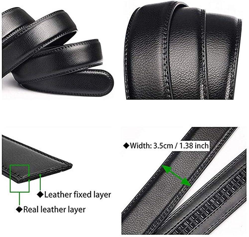 Mens Casual Classic Leather Ratchet Dress Belt Automatic Buckle