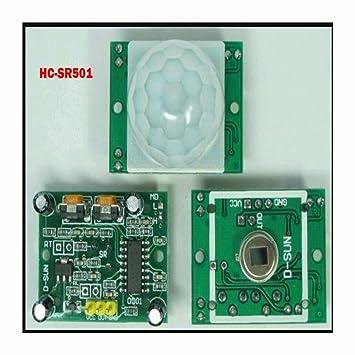 WKELECTRONDE-SR501 HC-SR501 Módulo infrarrojo piroeléctrico infrarrojo PIR Sensor de Movimiento Módulo Detector para arduino: Amazon.es: Electrónica