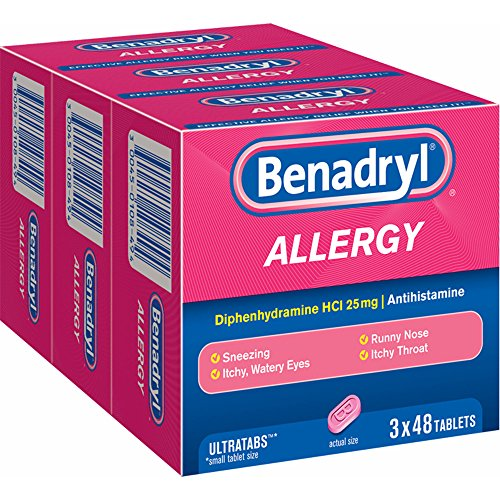 Benadryl Allergy 25mg Ultratabs, 144 ct. (pack of 6) by Benadryl