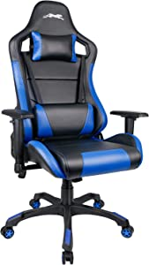 Leopard Gaming Chair, High Back PU Leather Office Chair, Swivel Racing Chair with Adjustable Armrest - Black/Blue