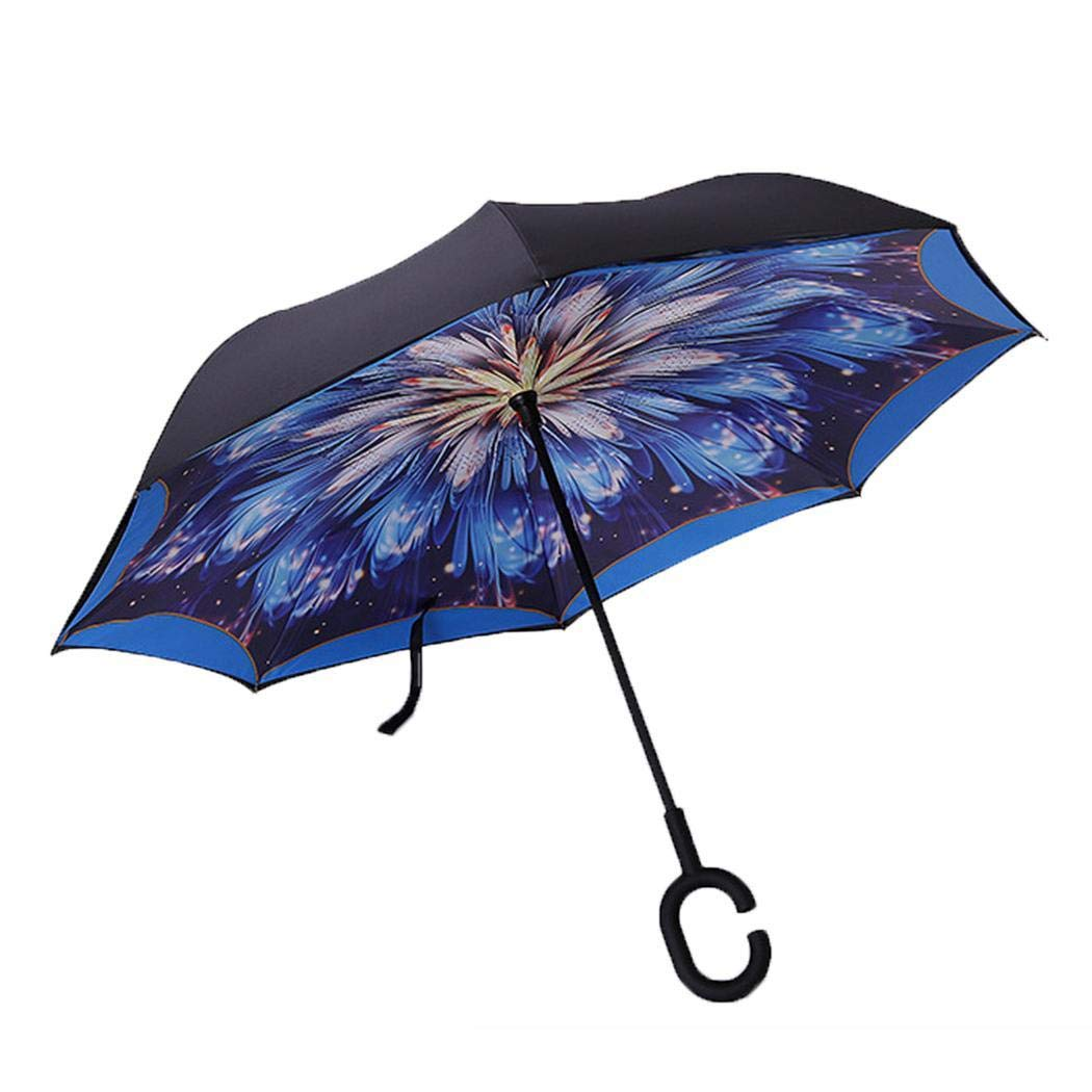 Mandii Creative Reverse Double Layer Umbrella Windproof Car Standing Rain Protection Stick Umbrellas