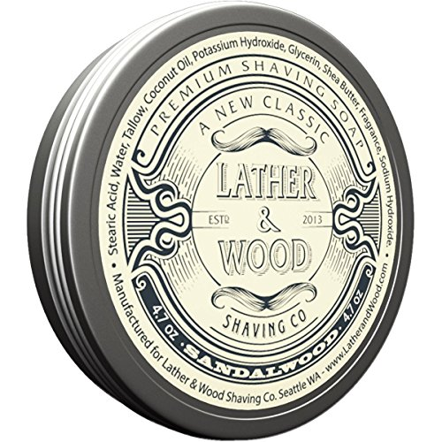 Lather & Wood Shaving Soap - Sandalwood - Simply the Best Luxury Shaving Cream - Tallow - Dense Lather with Fantastic Scent for the Worlds Best Wet Shaving Routine. 4.6 ()