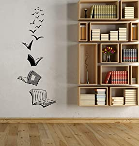 Wall Art Decor Decals Removable Mural Vinyl Wall Decals, Classroom Library, Open Book Reading Room, Home Study, Living Room Bedroom Decoration Sticker