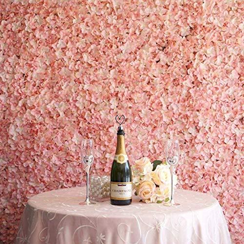 DALAMODA 4 PCS (60x40cm) Blush Pink Silk Hydrangea Flower Mat Wall Wedding Event Decor for DIY Centerpiece Arrangement Party Decorations