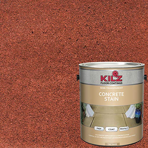 KILZ 13512901 L397311 Interior/Exterior Semi-Transparent Color Concrete Stain 1 Gallon Smoked Paprika/Brick Red