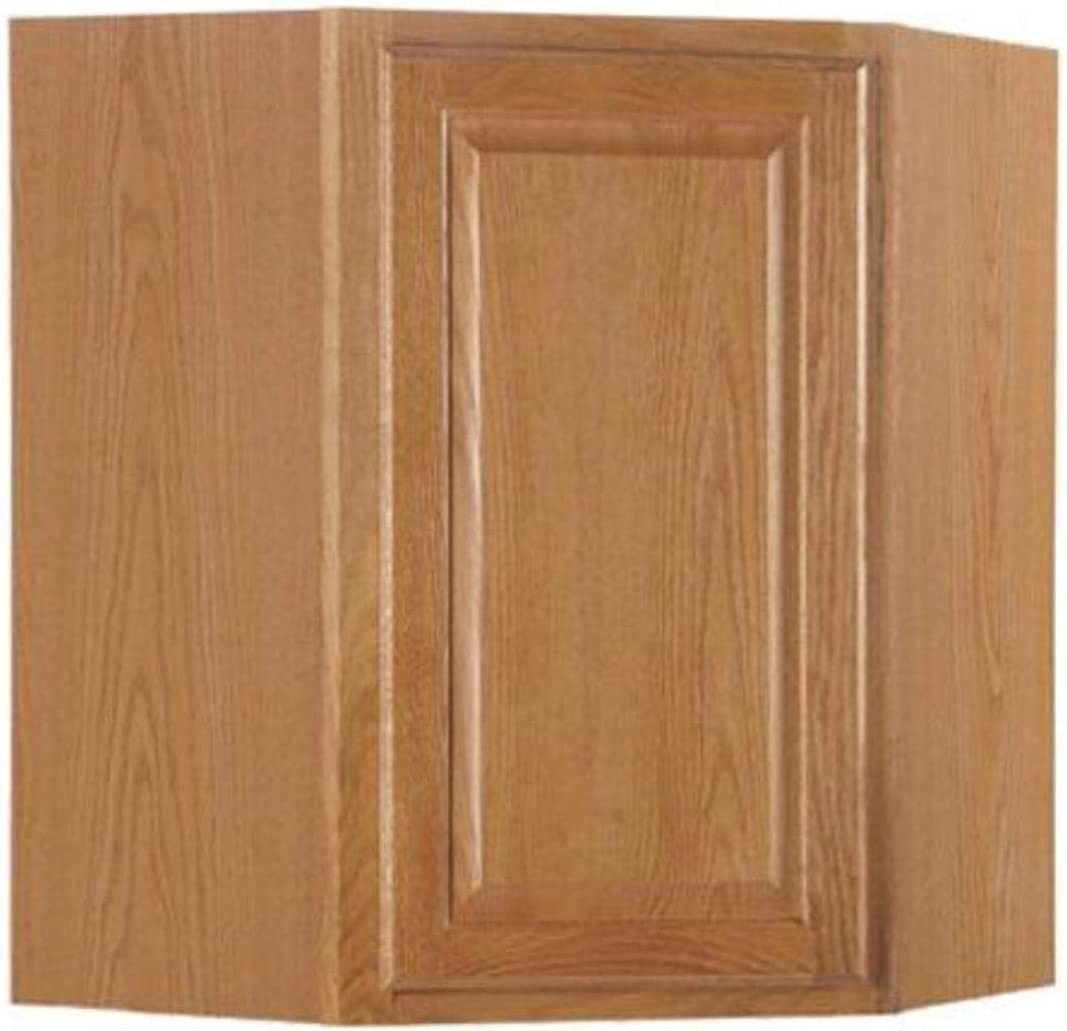 24 x 30 RSI HOME PRODUCTS SALES CBKWD2430-MO Medium Oak Finish Assembled Diagonal Corner Wall Cabinet
