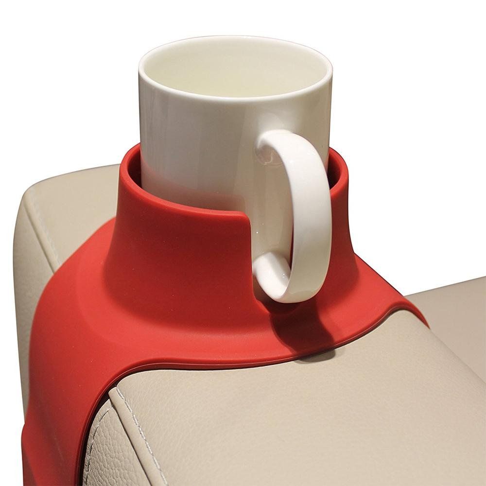 Pawaca Couch Cup Holder, Silicone Sofa Armrest Weighted Drink Coaster for Mugs/ Glasses/ Bottles (Coffee)