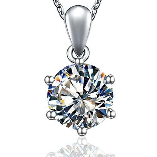 4b3a15de6739a Kigmay Jewelry 925 Sterling Silver Round Cut Clear Cubic Zirconia CZ  Solitaire Pendant Necklace for Women, 16