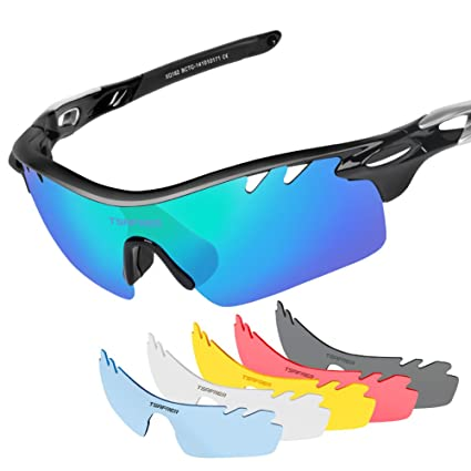 dfa48351734 Polarized Sports Sunglasses 2 Pairs for Men Women Cycling Running Driving  Fishing Golf Baseball (T1Black-Silver)  Amazon.ca  Sports   Outdoors