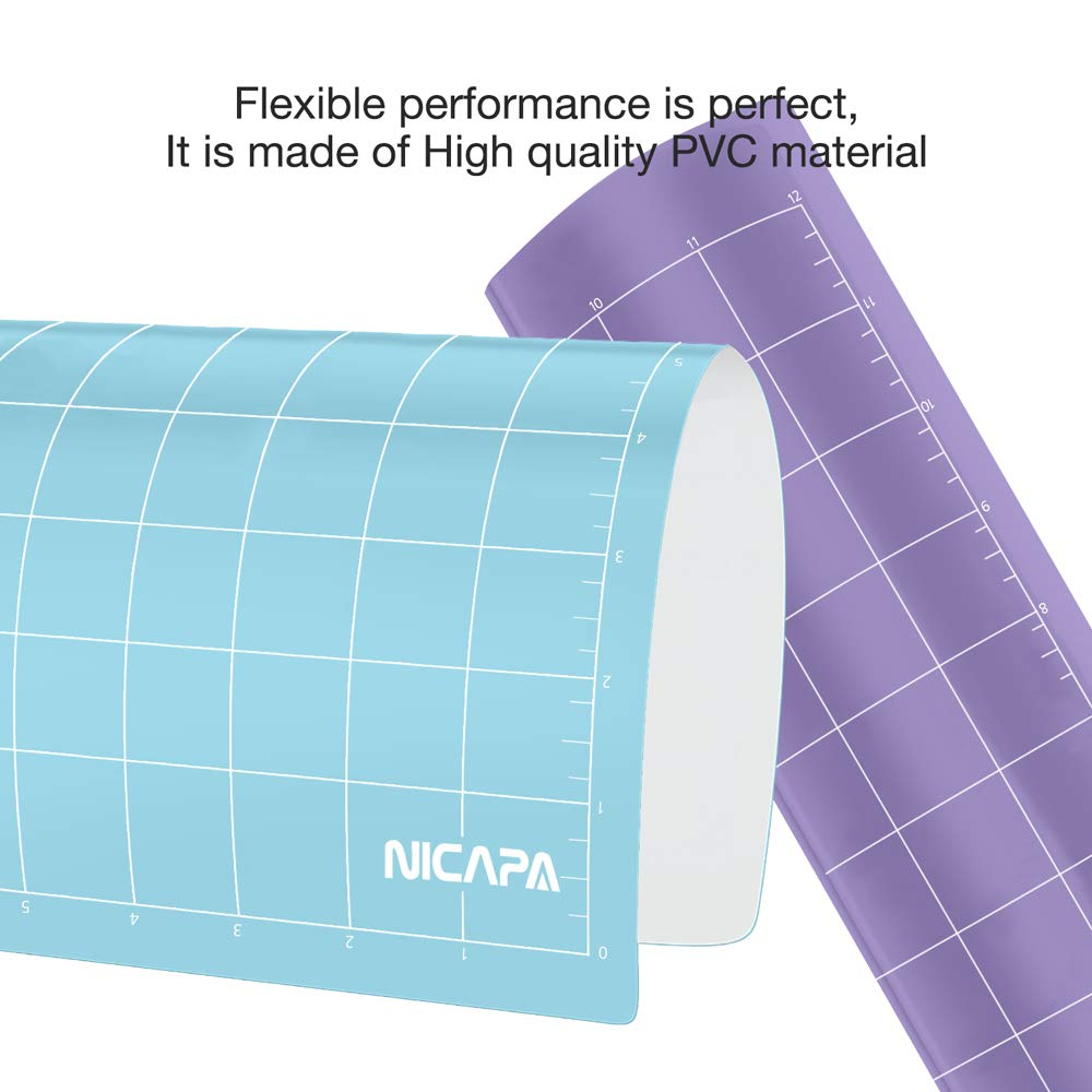 Nicapa Replacement Cutting Mat for Silhouette(12x12 inch 3pack-Standardgrip、Lightgrip、Stronggrip) Adhesive&Sticky Non-Slip Flexible Square Gridded Cut Mats Set Matts Vinyl Craft Sewing Cloth by NICAPA (Image #5)