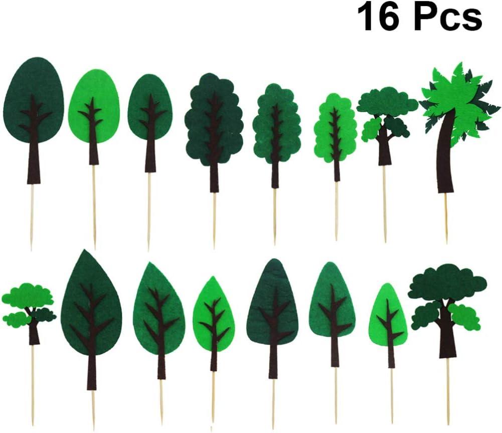 PRETYZOOM 16 Piezas Árbol Verde Pastel Topper Planta Hoja Cupcake Selecciones Fruta Postre Insertar Bandera para Baby Shower Niños Cumpleaños Boda Fiesta Decoración