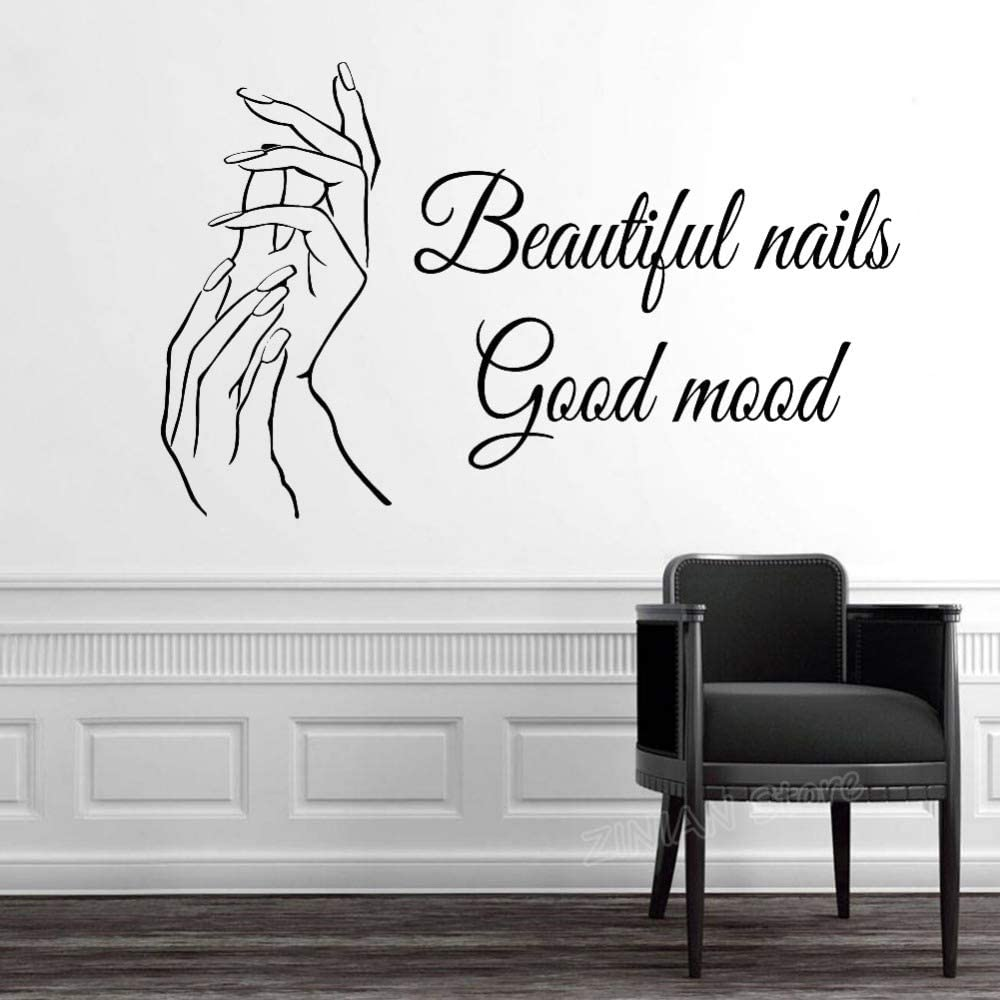 Amazon Com Vinyl Wall Art Inspirational Quotes And Saying Home Decor Decal Sticker Beautiful Nails Good Mood Nail Salon Quote Hands Nails Nail Arts Manicure Pedicure Beauty Salon Decor Home Kitchen