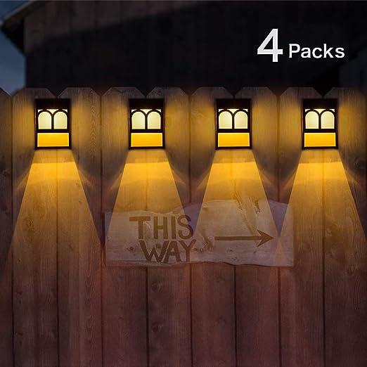 Luces Solares para Exteriores Jardín, LED Lámpara Luz Solar Impermeables para Valla Porche Garaje del Jardín Camino Decoración Navideña [2 Modos ] Luz Blanca / Cambio de Color (Paquete de 4): Amazon.es: Iluminación