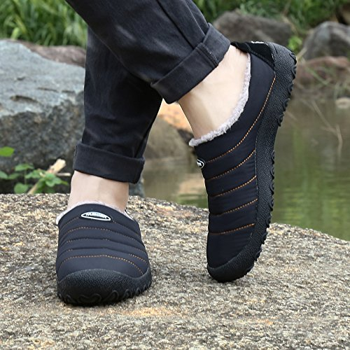 SITAILE Women Men Outdoor Indoor Slippers Fur Lined Waterproof Slip On House Winter Slipper Shoes Ankle Snow Boots Black,44 by SITAILE (Image #6)
