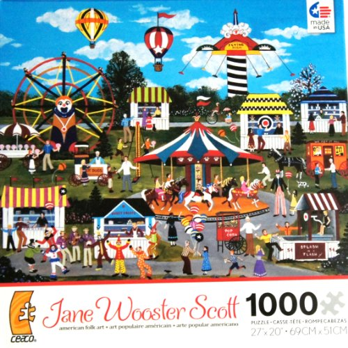 Jane Wooster Scott american folk art Carnival Merriment 1000 Piece Jigsaw Puzzle MADE IN USA -