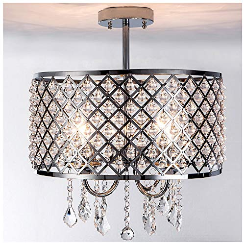 POPILION Ornate 3-Light Chrome Crystal Flush Mount Ceiling Light,Contemporary Chandelier with Crystal and Metal Shade for Bedroom Living Room Cafe Banquet Hall