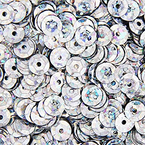 Loose Cup Hologram Sequins - 6mm - Silver - 5 Gross (720 psc/pk)… - Loose Forms Pack
