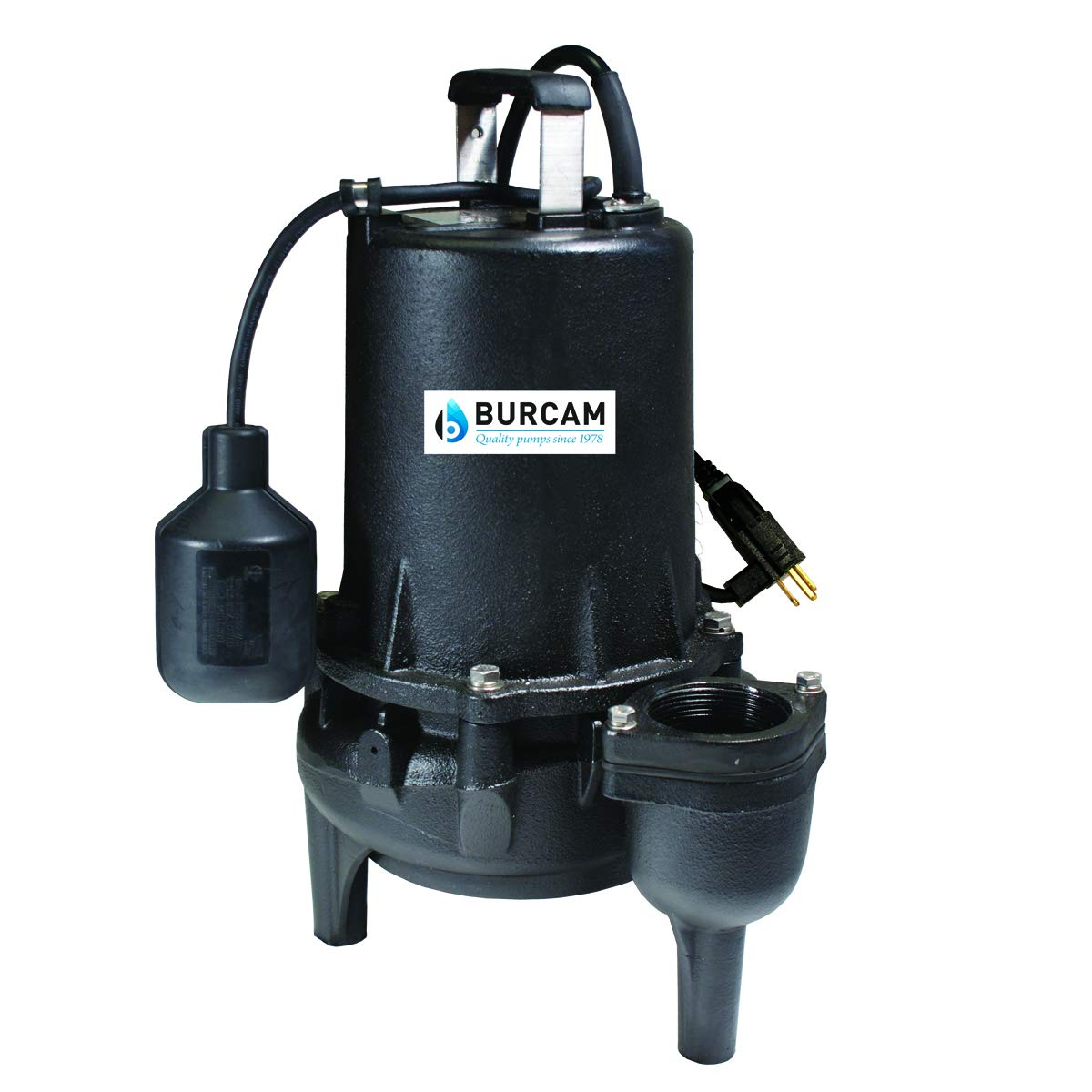 BURCAM 400539 3/4 HP Heavy Duty Cast Iron Sewage Ejector Pump Black