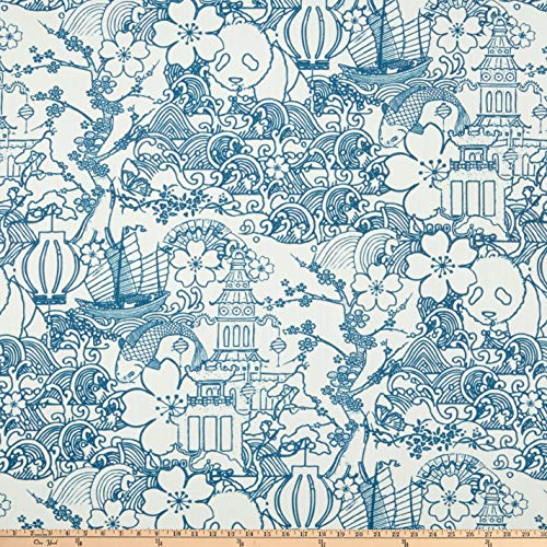 Richloom Fabrics Kasuri Baltic, Fabric by the - Cover Kasuri