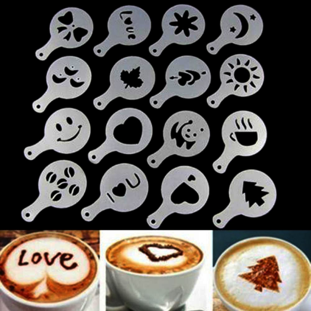 Trusted Buddy Coffee Art Pen with 16 pcs Cappuccino Templates and Stainless Steel Mesh Shaker with Lid