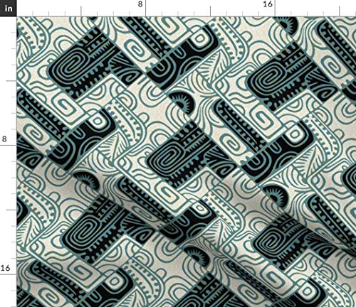 (Spoonflower Tiki Fabric - Tapa Moderne 1A Abstract Barkcloth Swirls Green Black Teal Art Deco Midcentury Print on Fabric by The Yard - Denim for Sewing Bottomweight Apparel Home Decor Upholstery)